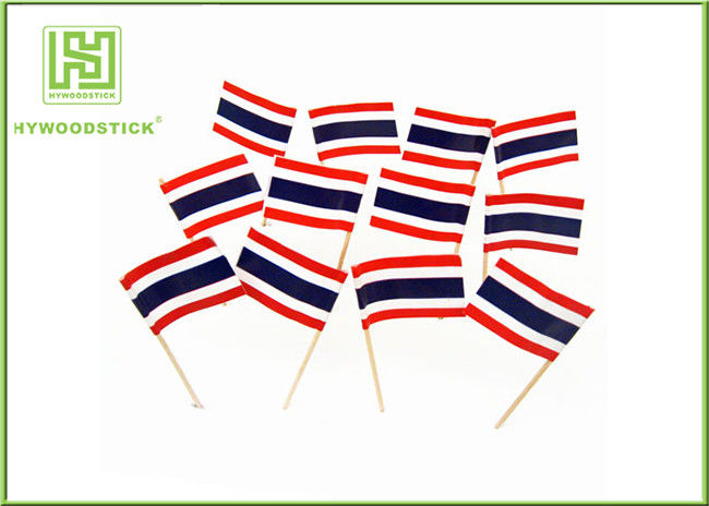 Party Decorative Food Toothpicks With Flags Mini Wooden Sticks 65mm Length