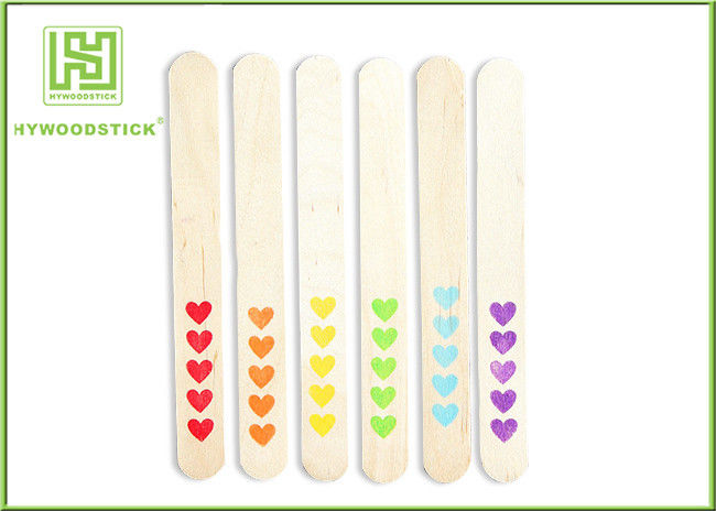 Red Heart Pattern Natural Wood Sticks Colored OEM / ODM Available