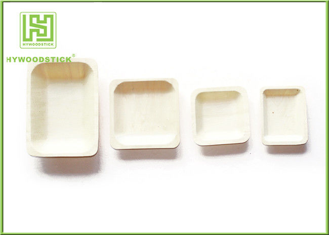 Fast Food Restaurant Disposable Wooden Plates Compostable Utensils 115 * 115 * 15mm