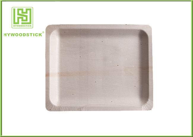 Rectangle Disposable Wooden Plates 20cm Catering Wooden Food Trays For Parties