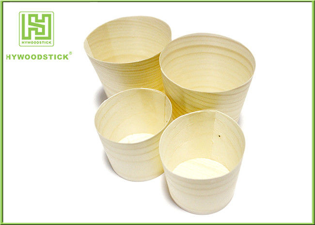 Eco-friendly Disposable Wooden Round Cup for Food with Different Size
