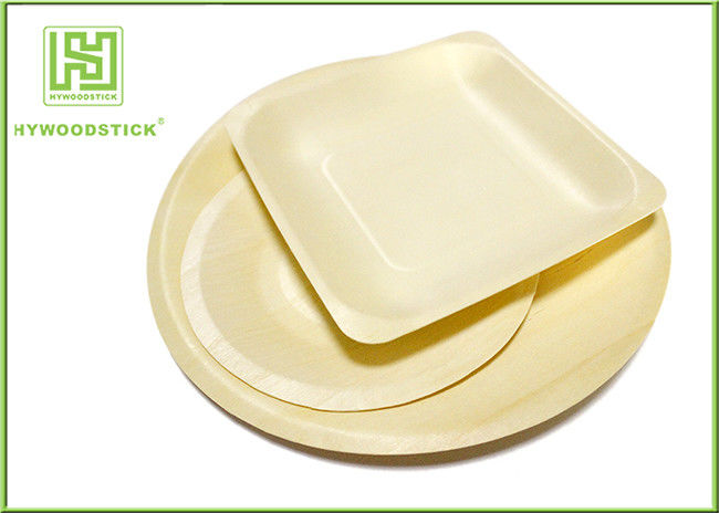 Round Shape 9'' Disposable Wooden Plates For Wedding Party 100pcs / Bag